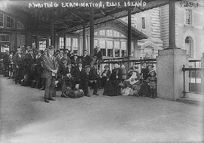 Awaiting examination at Ellis Island