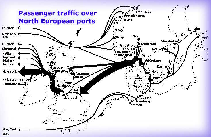 Routes of emigrant ships