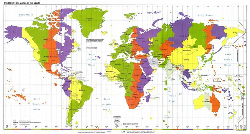 World clock map ::: Standard time zones